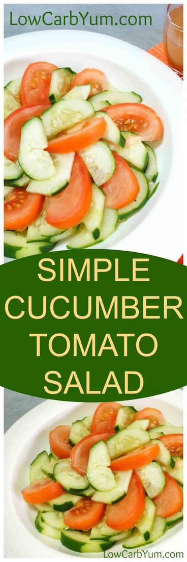 This cucumber tomato salad is an easy way to serve these popular summer garden crops. The simple dressing combines cider vinegar with a bit of water and sweetened with a touch of stevia.