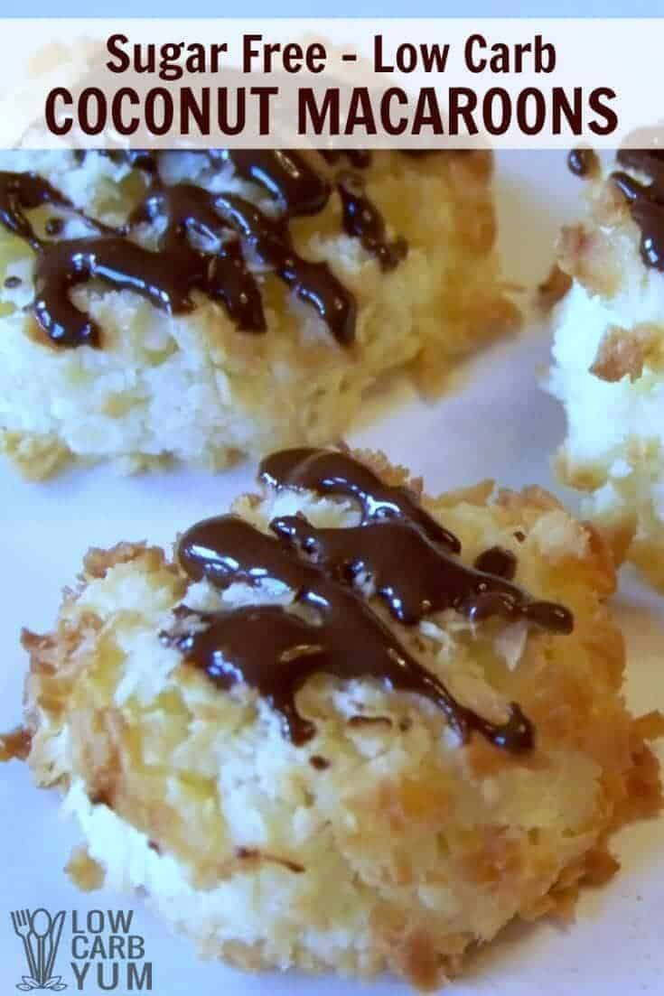 Soft sugar free low carb coconut macaroons are perfect bite sized treats. Drizzle these gluten free cookies with chocolate for more decadence. | LowCarbYum.com