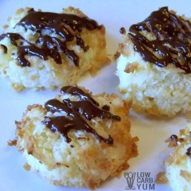 Sugar free low carb coconut macaroons square