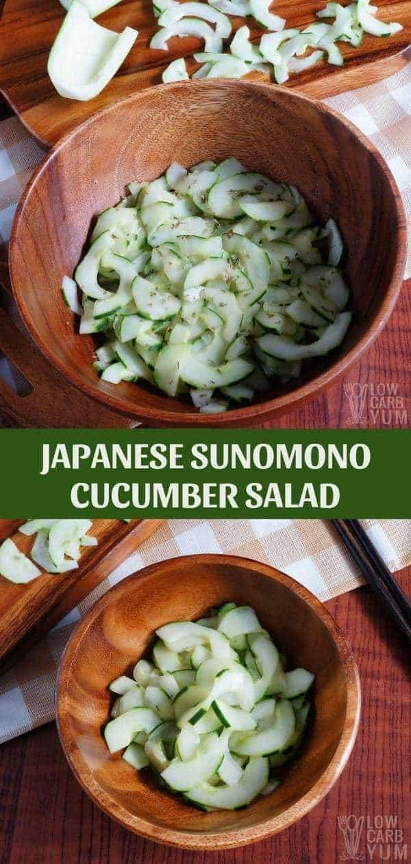 Easy sunomono Japanese cucumber salad recipe. #salad #cucumber #lowcarb #keto #ketorecipes #Atkins #weightwatchers #easyrecipe #glutenfree #dairyfree | LowCarbYum.com