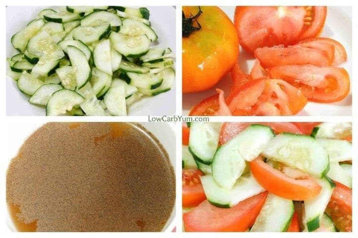 Low carb tomato cucumber vinegar salad prep collage