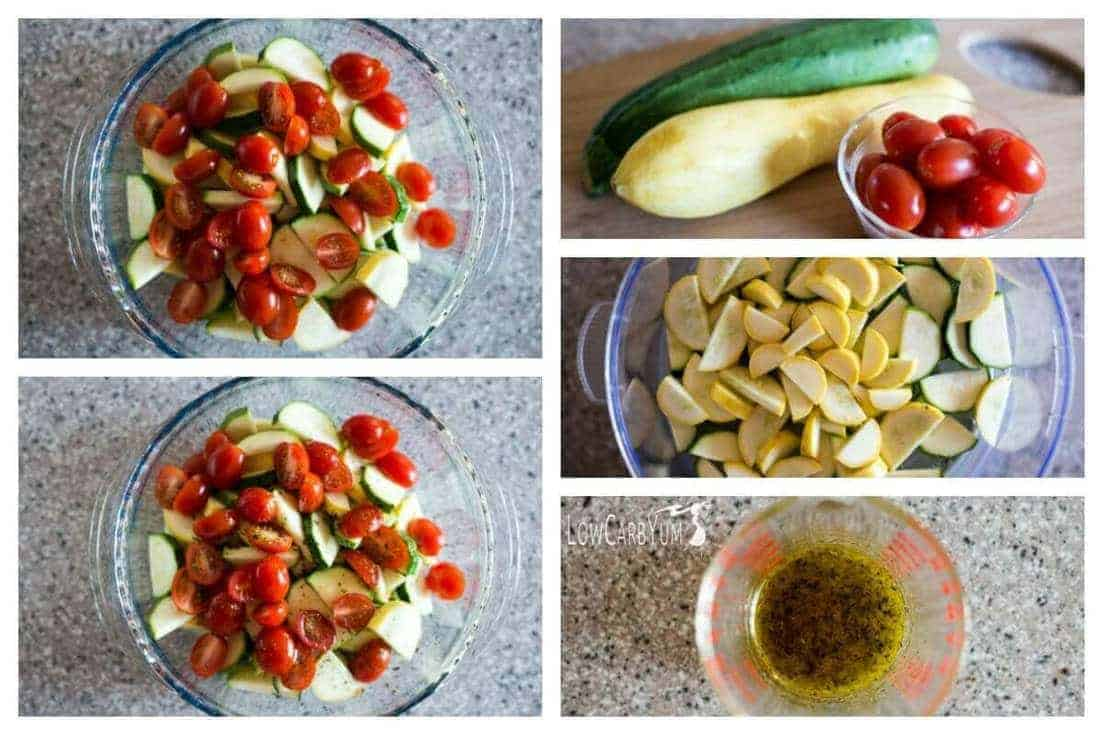 Zucchini and squash salad collage