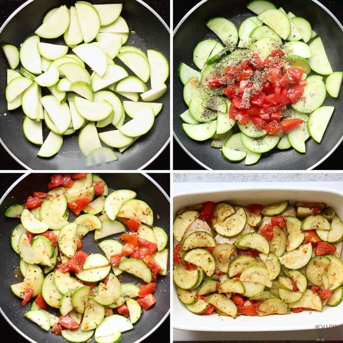 preparing the zucchini for the casserole