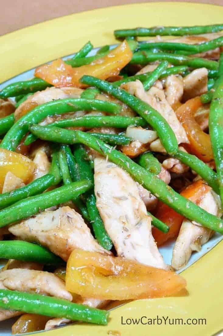 chicken and green bean stir fry on platter
