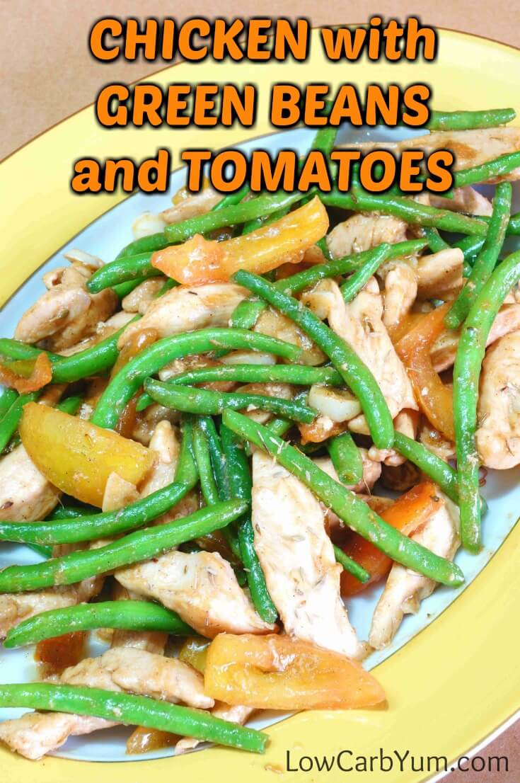 A wonderful chicken stir fry that cooks up fast in a skillet. This easy chicken green beans and tomatoes dish makes a healthy low carb meal. | LowCarbYum.com