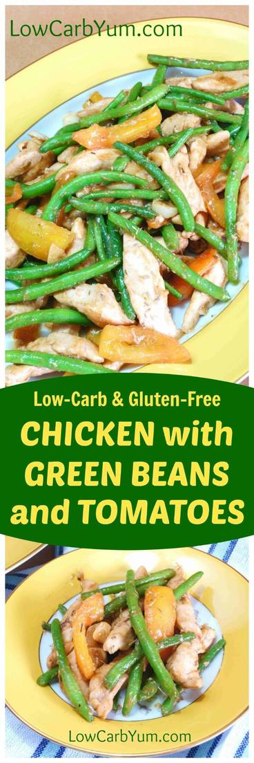 A wonderful chicken green bean stir fry that cooks up fast in a skillet. This quick and easy chicken dish makes a healthy low carb meal. | LowCarbYum.com