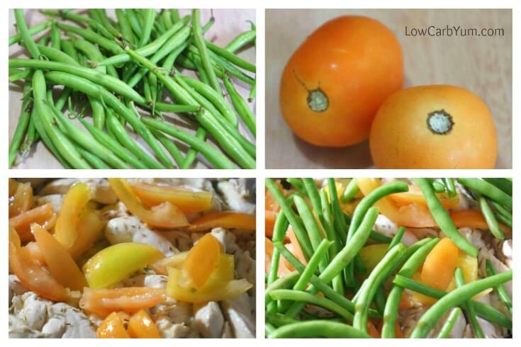 Low carb chicken green beans tomato stir fry skillet recipe
