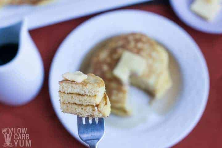 Close-up of the fluffy low carb coconut flour pancakes