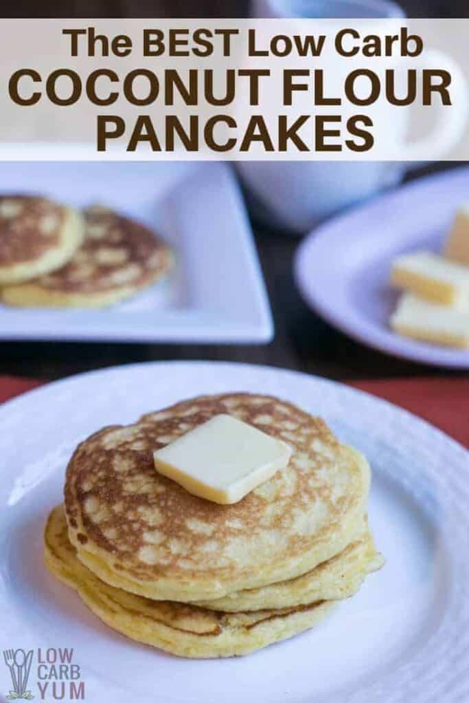 Coconut flour pancakes on plate with butter