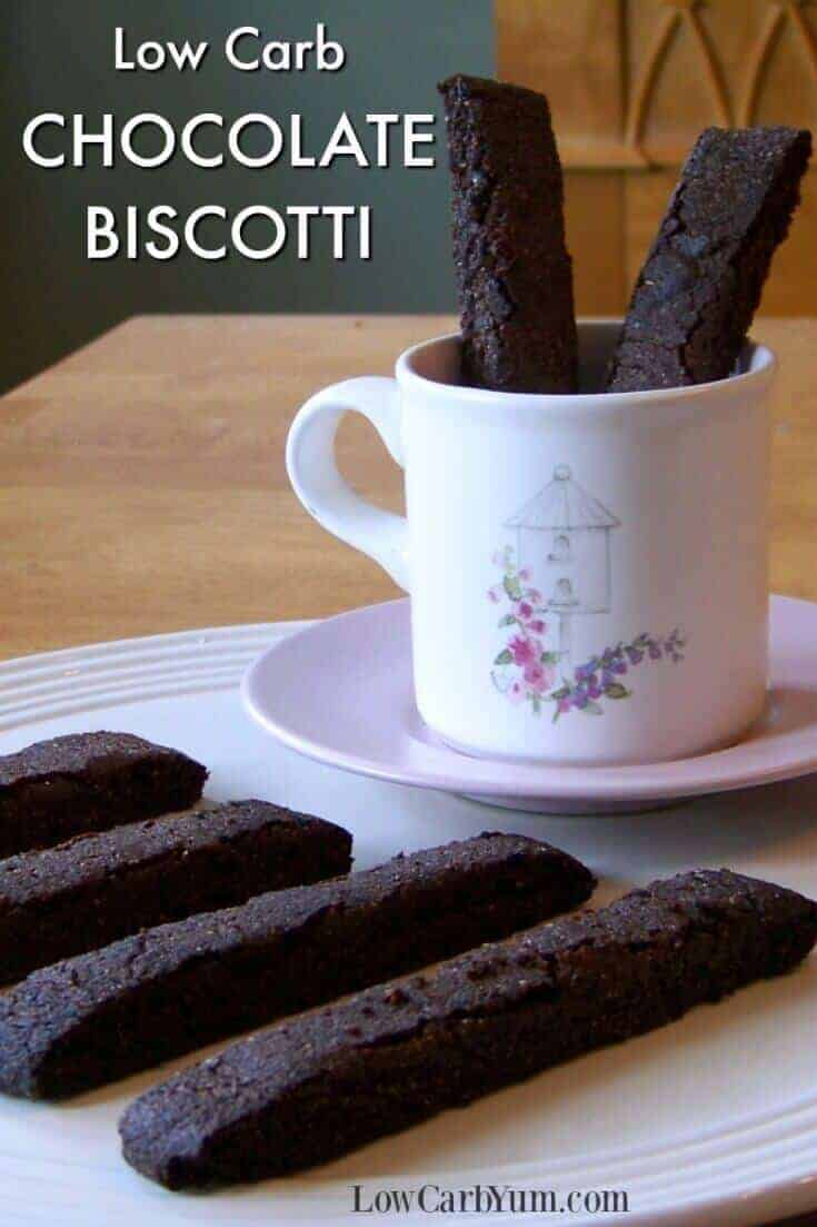 An easy chocolate low carb biscotti cookies recipes. These delicate gluten free chocolate Italian style cookies pair up perfectly with a cup of coffee. | LowCarbYum.com