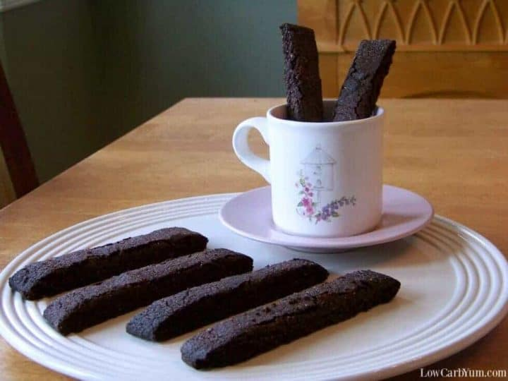 Chocolate low carb biscotti cookies on plate