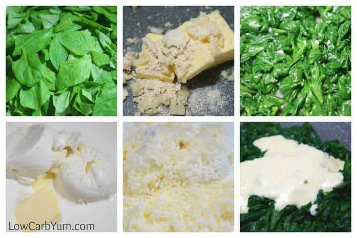 Cheesy low carb creamed spinach recipe collage