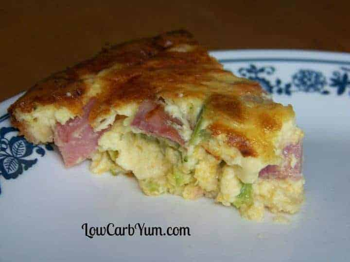 Low carb ham and broccoli quiche slice
