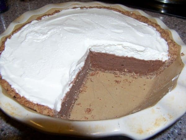 Low Carb Chocolate Pie with Nut Crust and Whipped Cream Topping