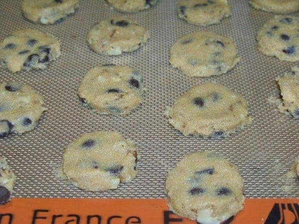 Chocolate Chip Cookie Dough on Non-stick Baking Sheet