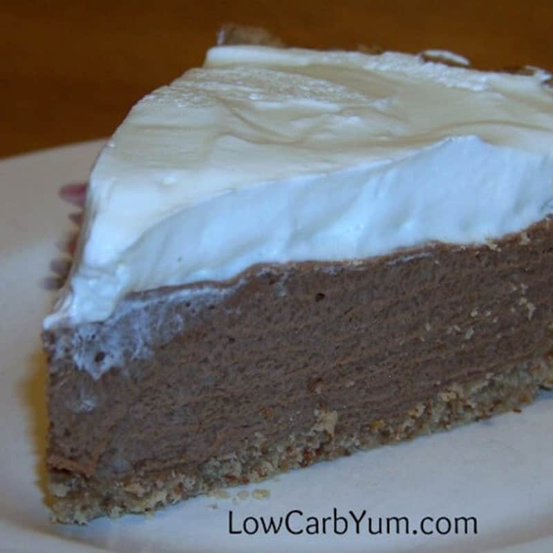 Low Carb Chocolate Pie Topped with Cream – Gluten Free