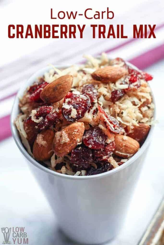 Cranberry keto low carb trail mix cover