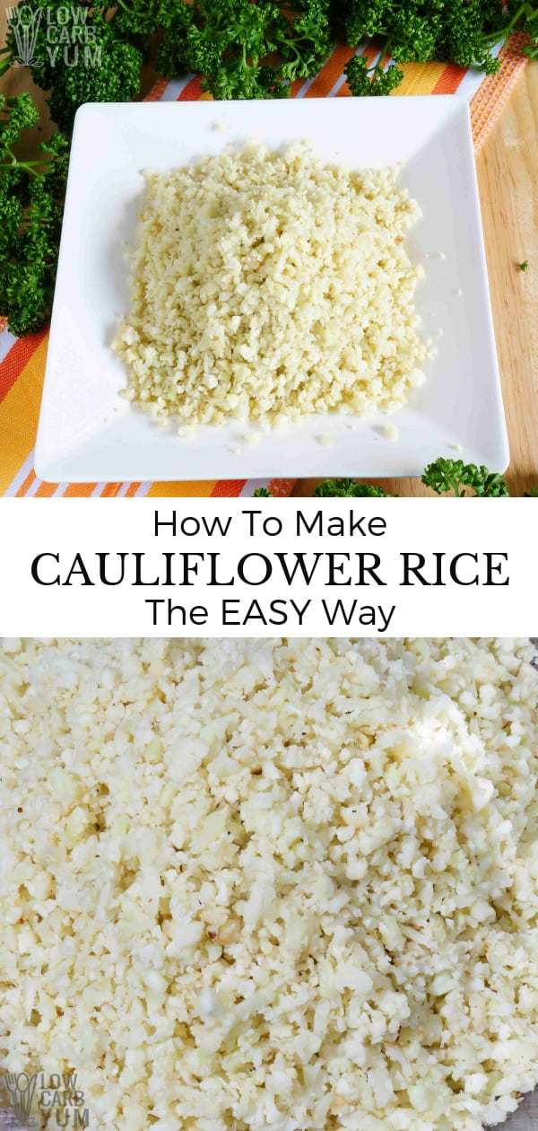 Keto friendy riced cauliflower is quick and easy to prepare. No wonder it's a staple on low carb diets. Here's how to make cauliflower rice the easy way. #cauliflower #lowcarb #cauliflowerrice | LowCarbYum.com