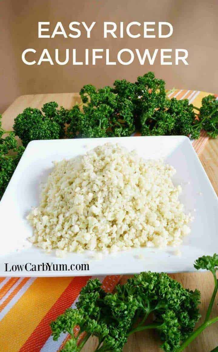 Easy riced cauliflower on plate