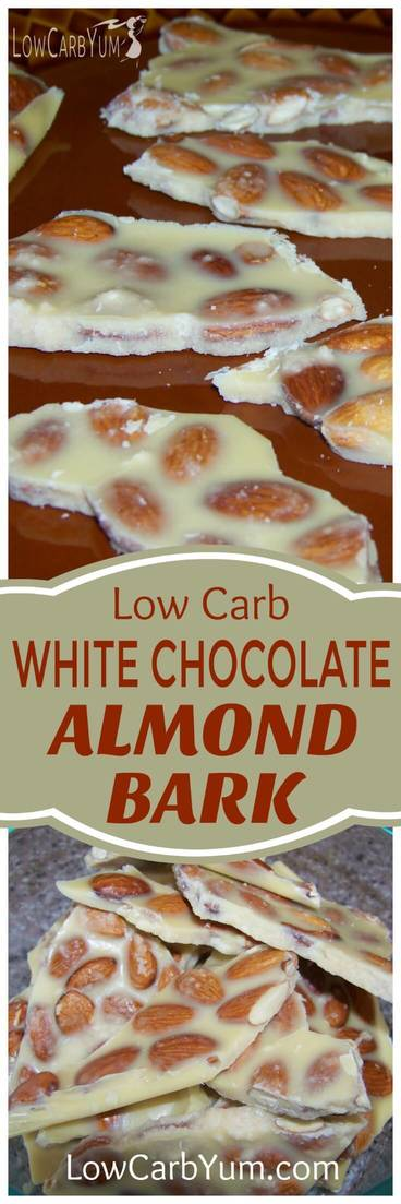The intense sweetness of white chocolate makes it a yummy candy. Here's a low carb white chocolate almond bark for those on a sugar free diet. | LowCarbYum.com