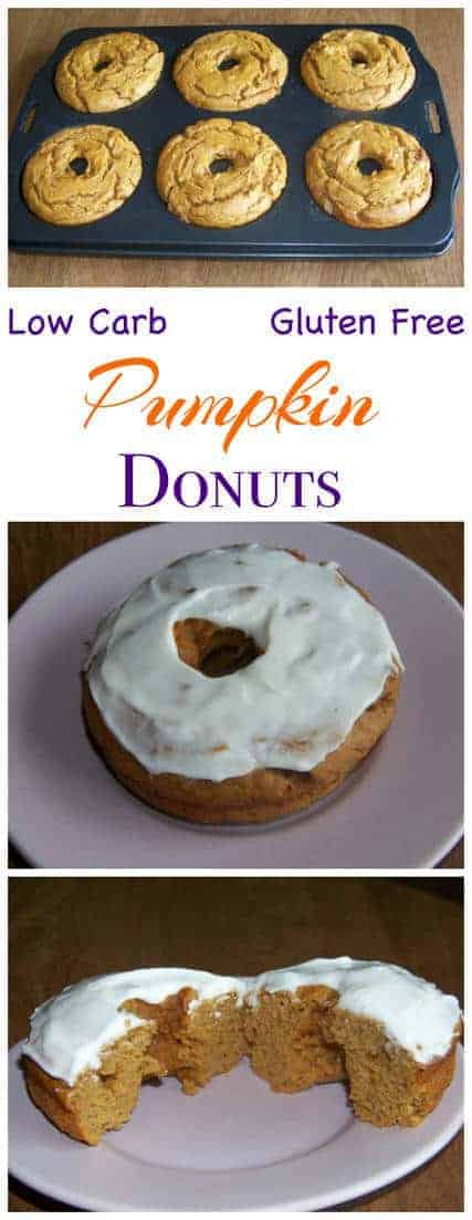 Low carb and gluten free pumpkin cake donuts made with peanut flour. Enjoy these sweet sugar free treats without guilt!