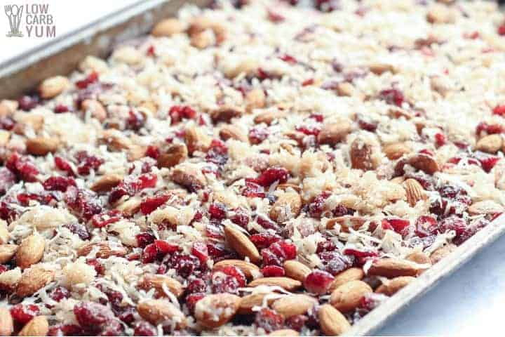 Trail mix on sheet pan