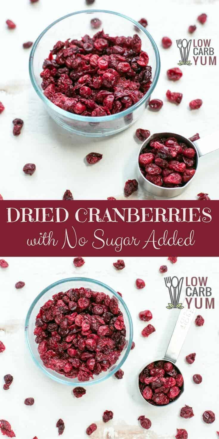 Sugar free dried cranberries can be difficult to find. But, it's easy to make them at home. Here's how to make stevia sweetened dehydrated cranberries. | LowCarbYum.com