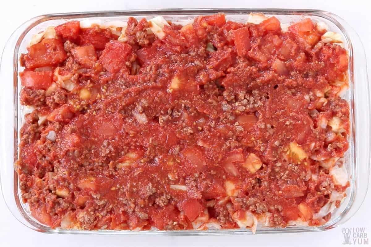 assembling hamburger cabbage casserole