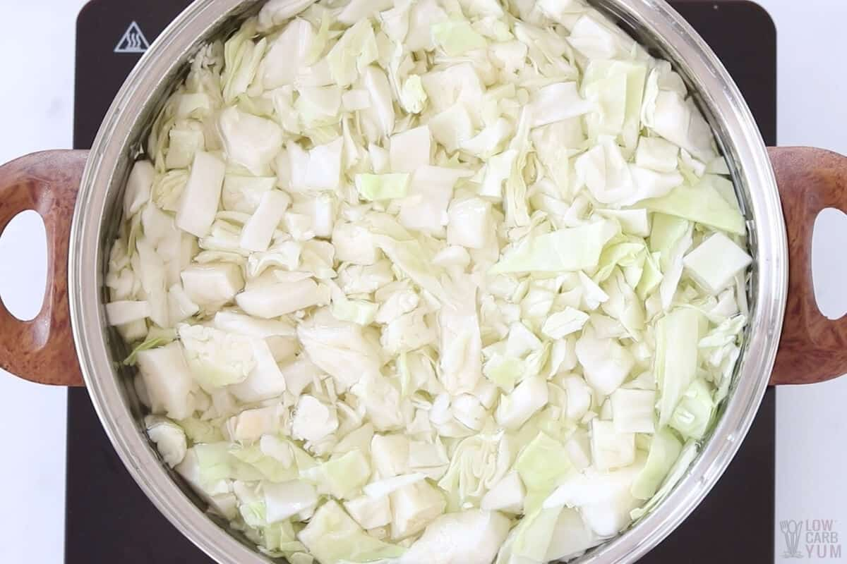 boiling cut cabbage