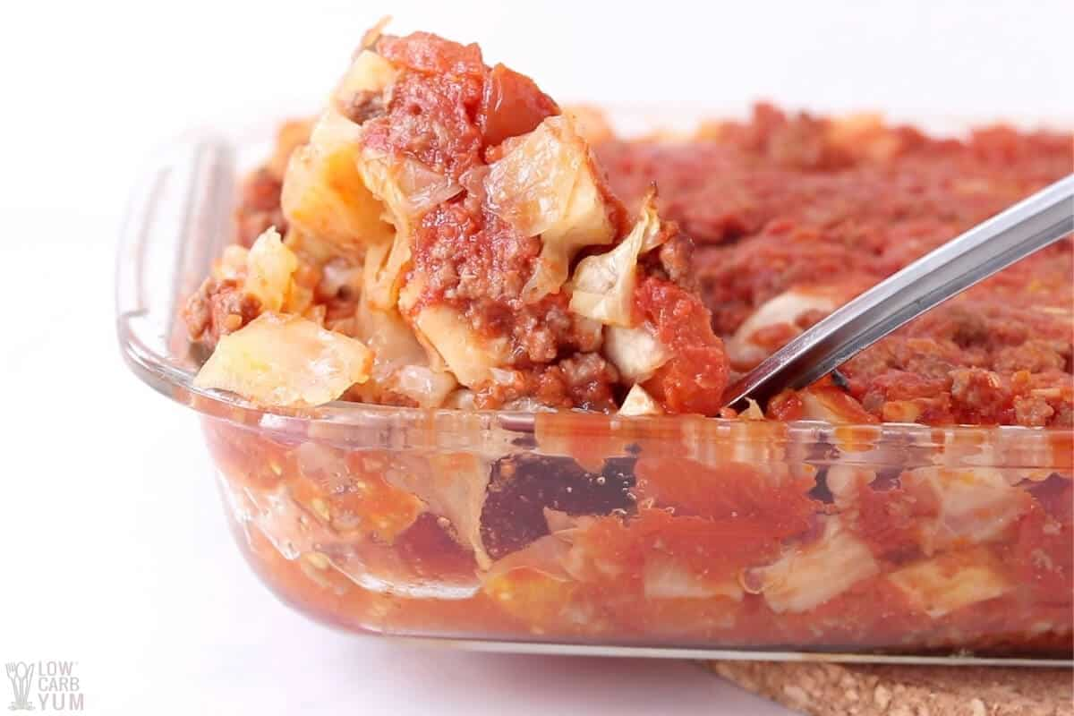 cabbage beef casserole in pan