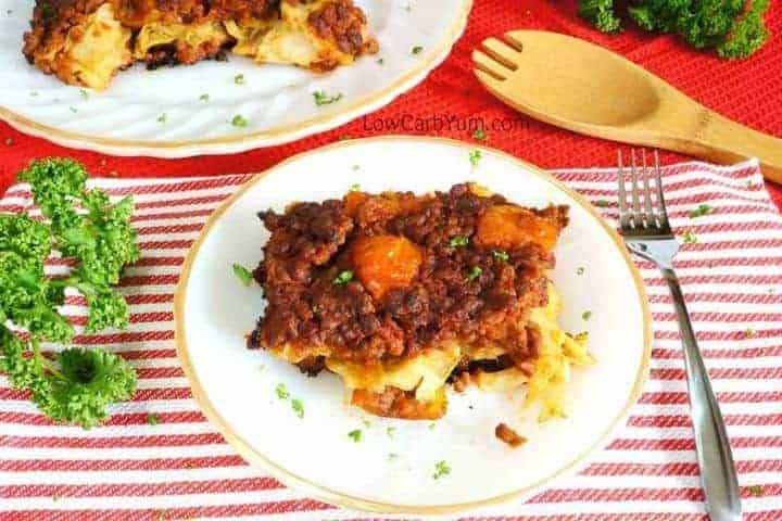Low carb gluten free cabbage beef tomato casserole