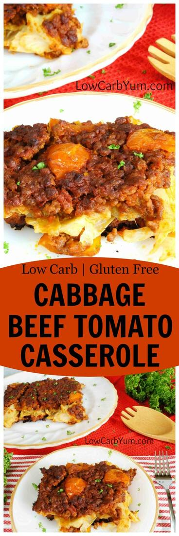 A simple low carb cabbage beef casserole with tomato. This recipe bakes up in the oven so it can be prepared ahead and heated up just before serving. | LowCarbYum.com