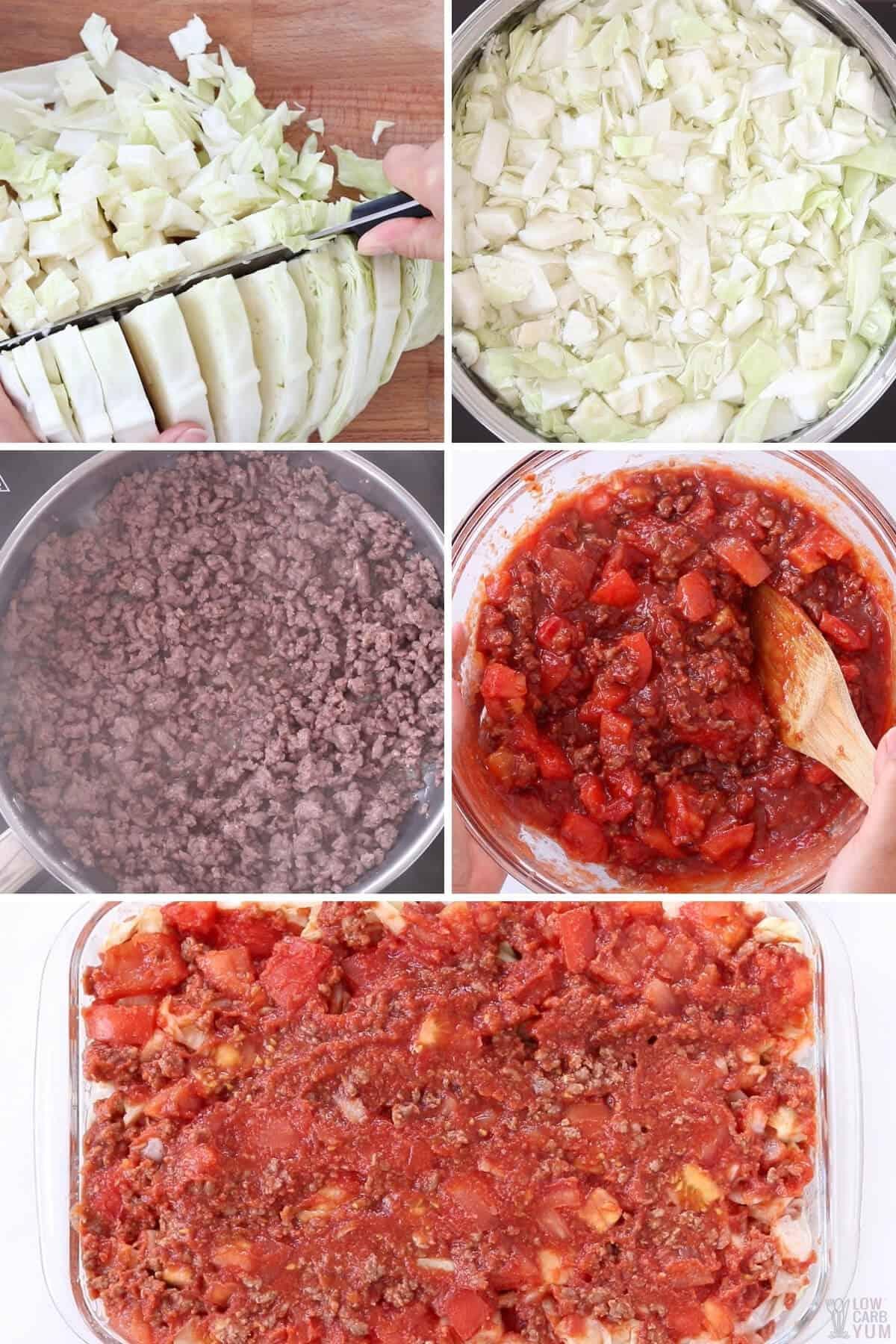 cabbage ground beef casserole prep