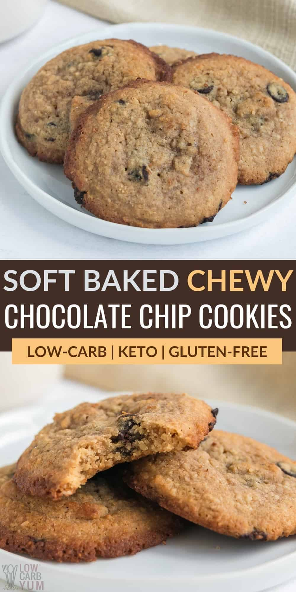 soft baked chewy keto chocolate chip cookies