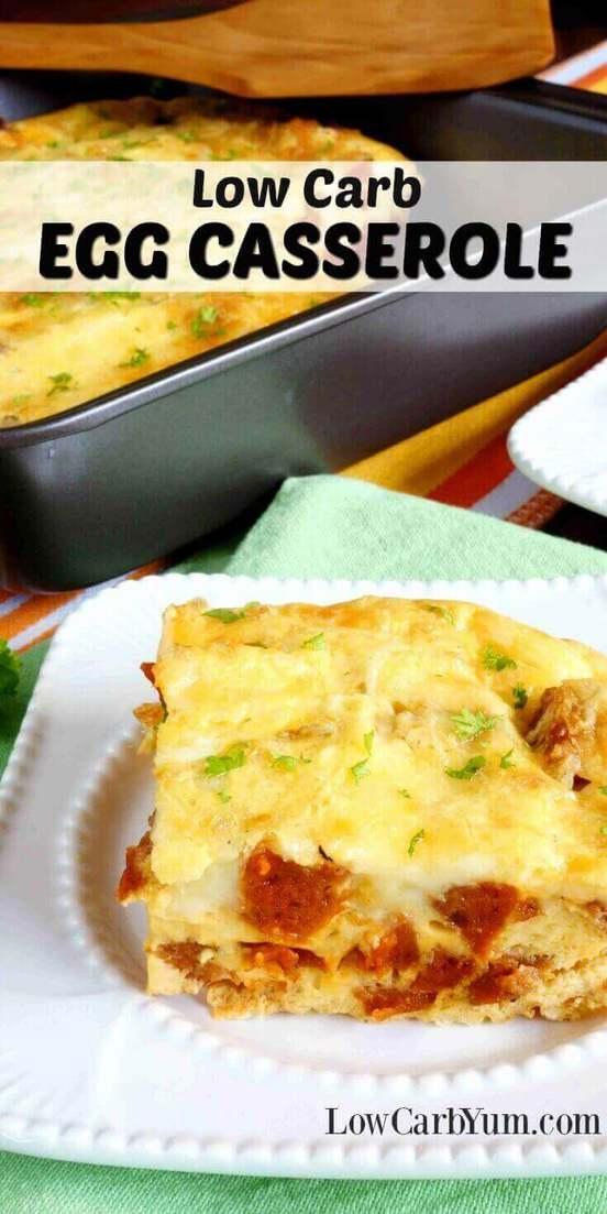 A delicious low carb egg casserole with sausage that can make a weeks worth of hot breakfasts. Reheat a square serving for quick breakfasts on the go. | LowCarbYum.com