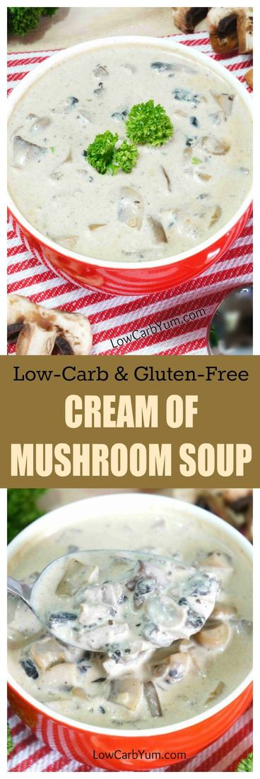 Cream soups often contains high carb thickeners. This gluten free low carb cream of mushroom soup uses a natural gum thickener instead. | LowCarbYum.com