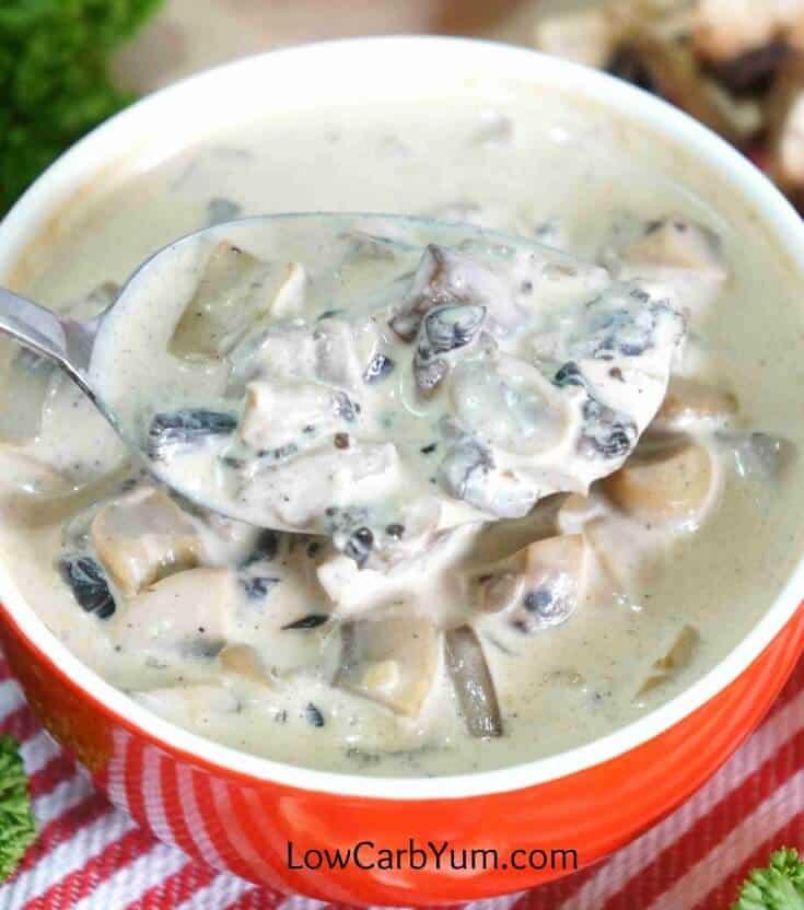 mushroom soup on spoon