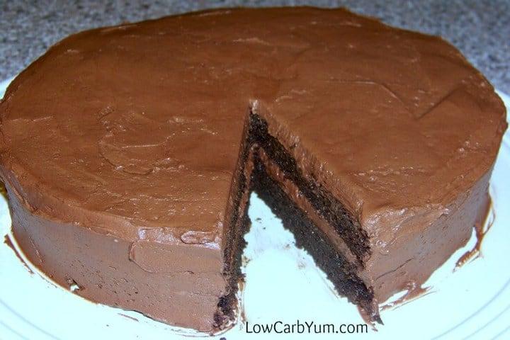 Low carb gluten free peanut flour chocolate cake