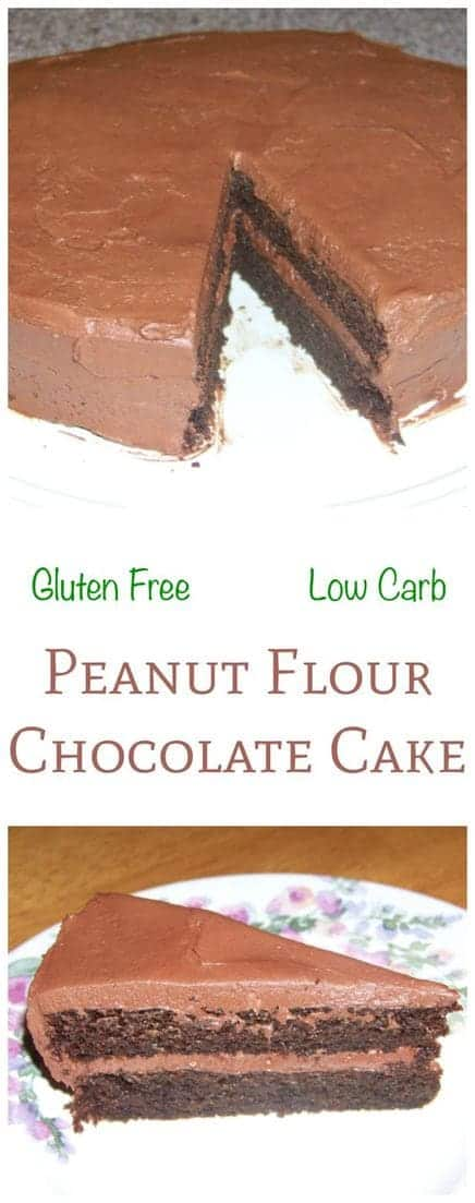 One of the most amazing peanut flour recipes, a rich low carb chocolate cake. This gluten free cake is topped with a sugar free buttercream frosting. | LowCarbYum.com