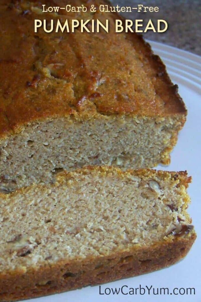 A low carb gluten free pumpkin bread that bakes up nicely using only coconut flour. It's sweetened with a sugar free blend of stevia.