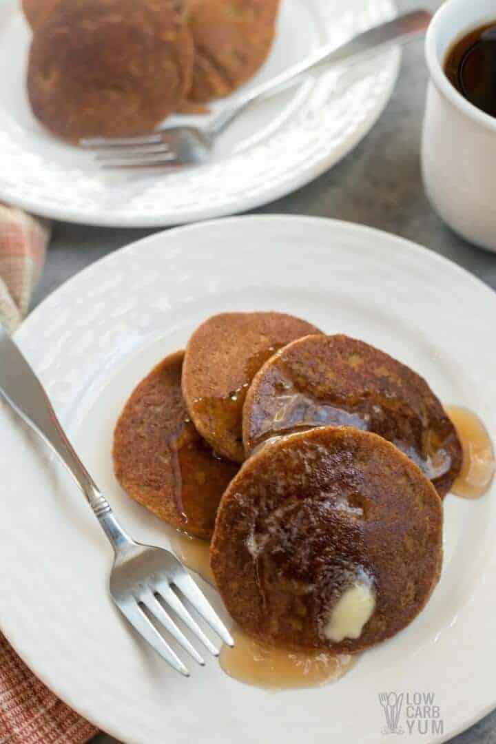 Low carb pumpkin pancakes made with almond flour