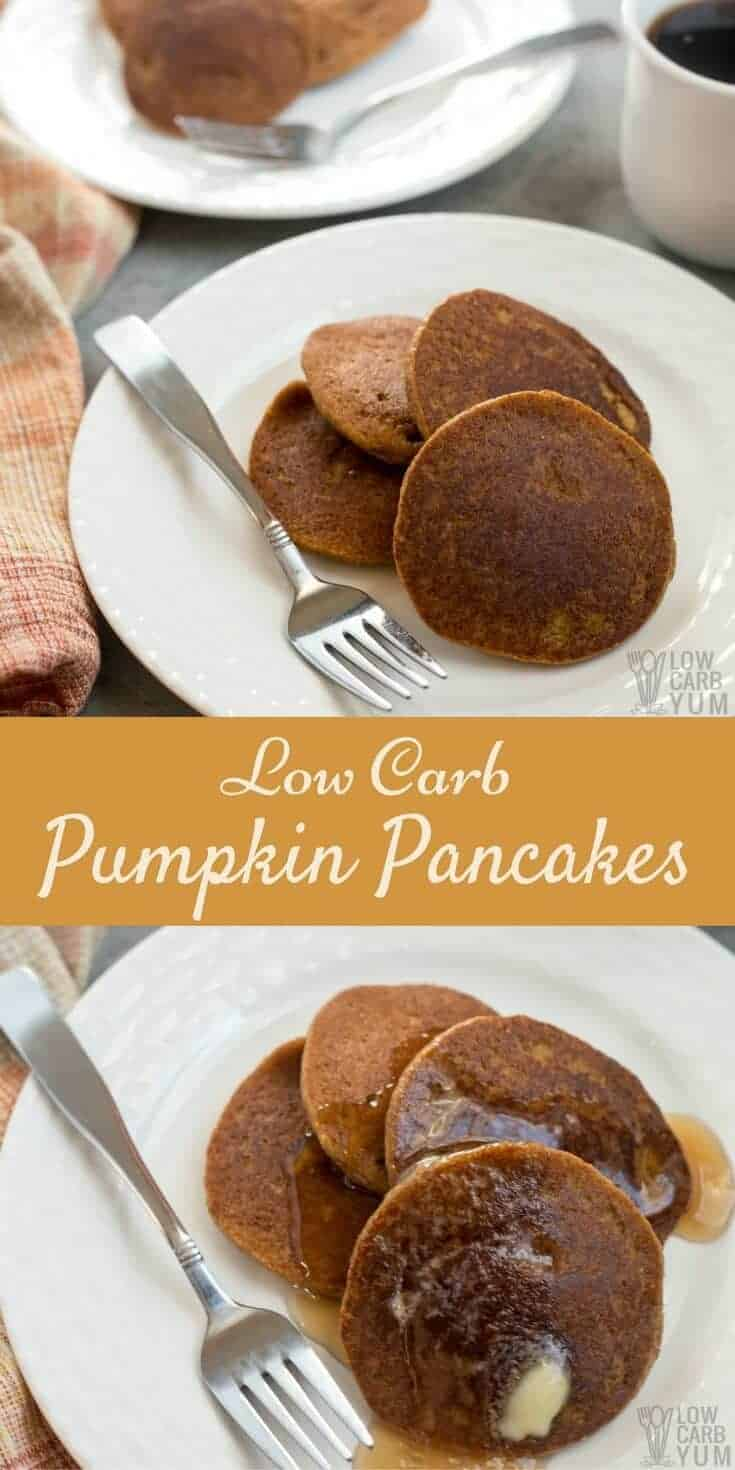 Need a recipe to use up leftover canned pumpkin? These gluten free low carb pumpkin pancakes made with almond flour are a nice breakfast treat. #glutenfree #lowcarb | LowCarbYum.com