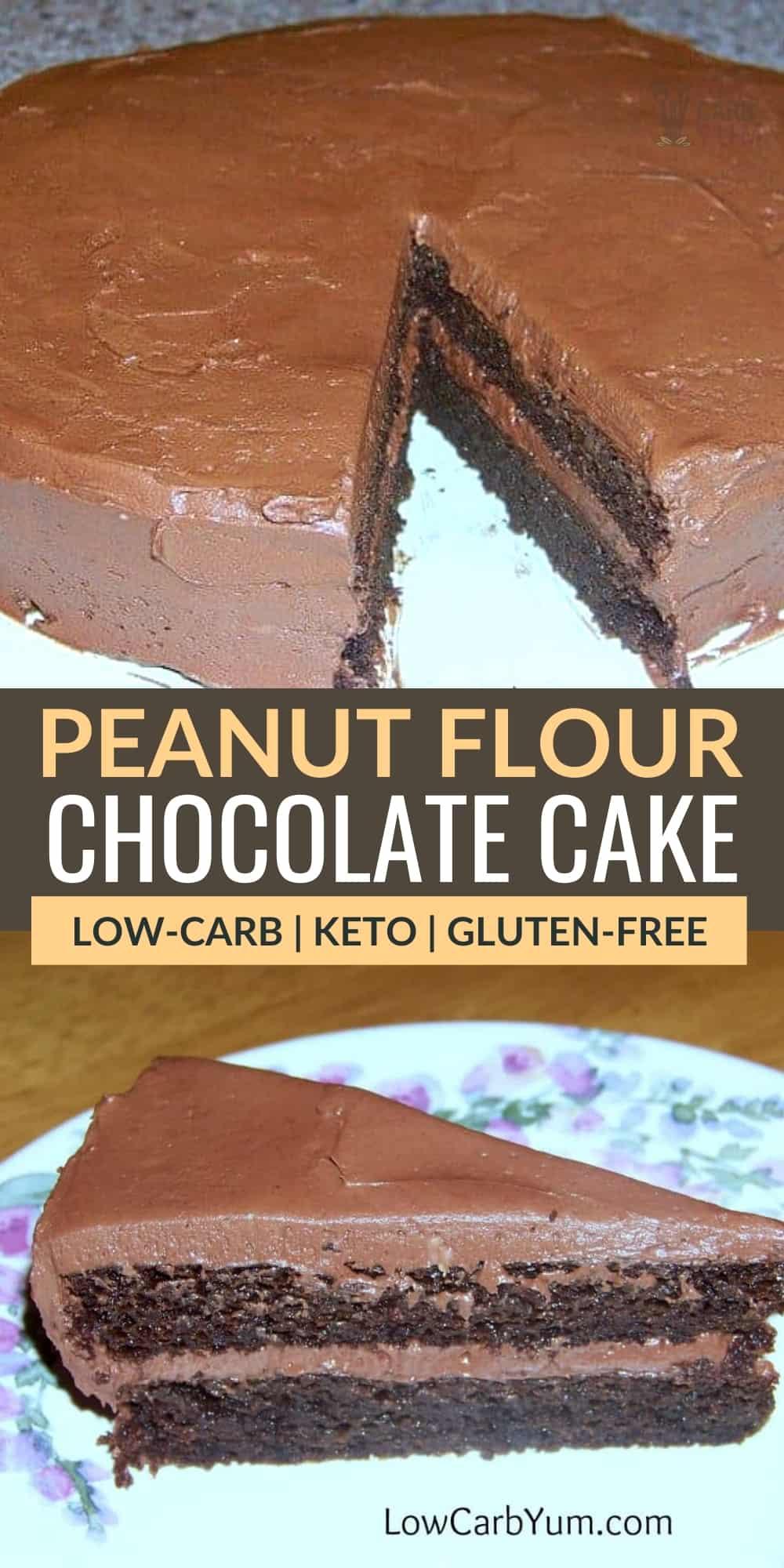 peanut flour chocolate cake pinterest image