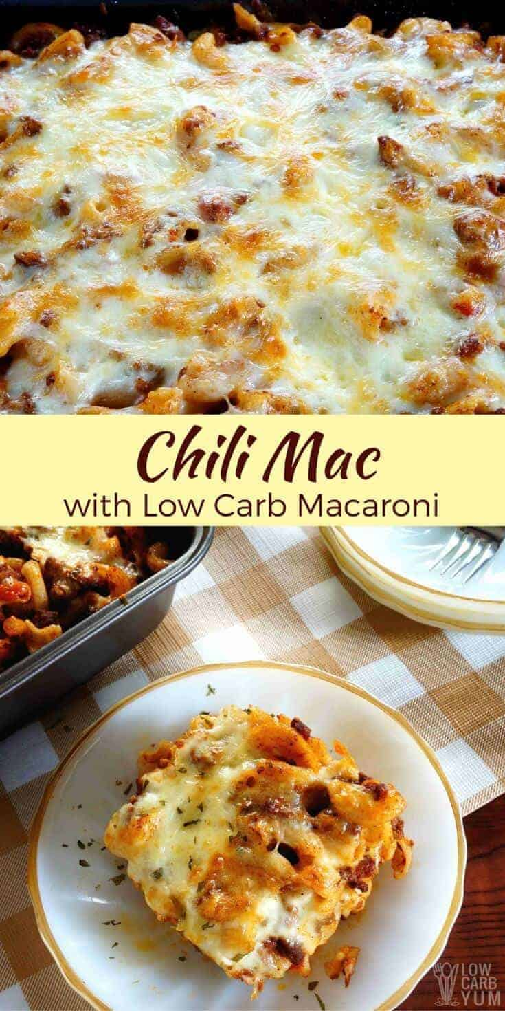 A spicy ground beef and pasta casserole that can be made with any pasta. But to cut carbs, this chili mac recipe used low carb macaroni. | LowCarbYum.com