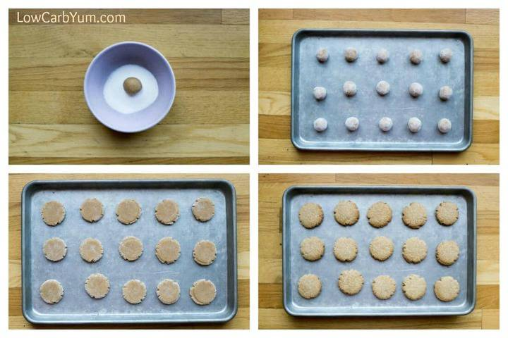shaping the dough into cookies on baking pan