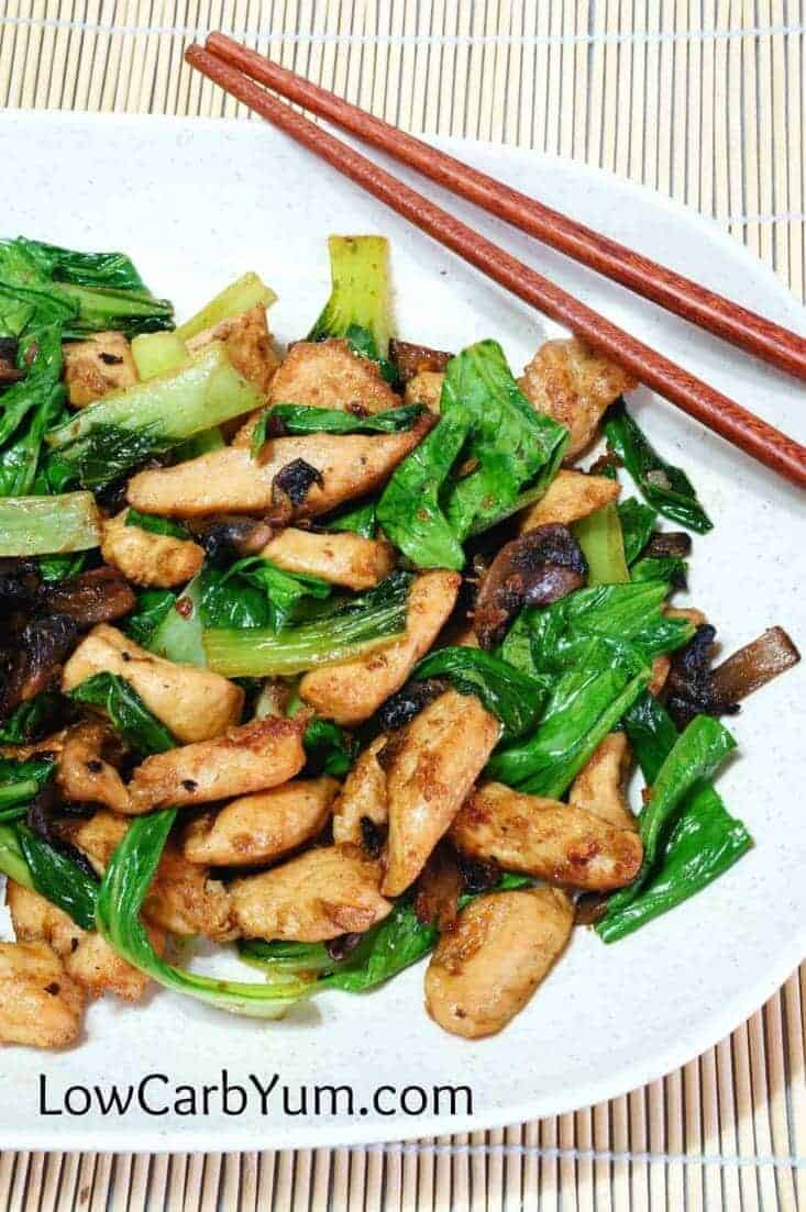 closeup of chicken bok choy dish