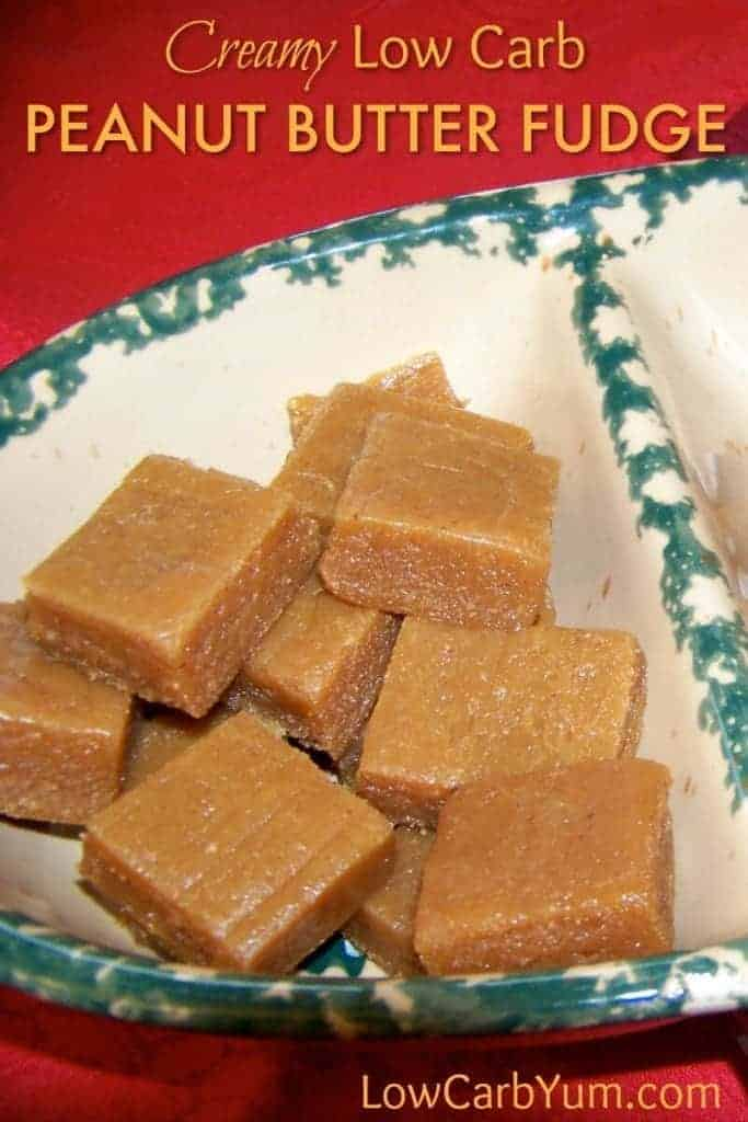 A creamy peanut butter fudge made with peanut butter, protein powder, dry milk, butter and almond milk. Sweetened with a mix of low carb sweeteners.