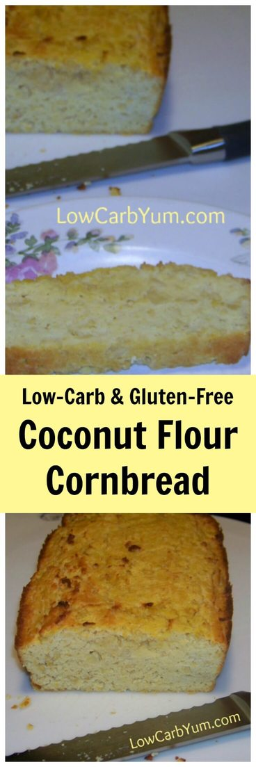 This coconut flour cornbread is made with baby corn which is high in fiber so net carbs are kept low. It's a delicious gluten free bread perfect for dinner.