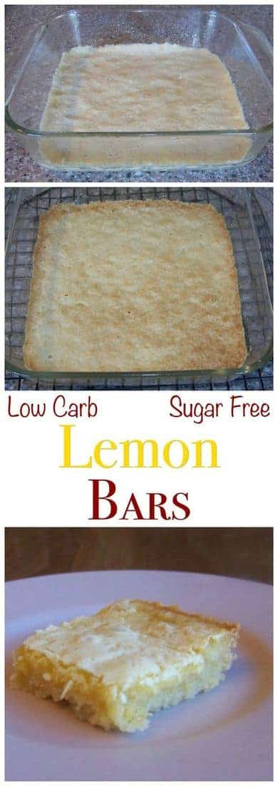 Luscious low carb lemon square bars that are very close to the real thing. These yummy treats have a crust made with a low carb baking mix.