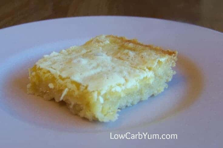 Luscious low carb lemon bars that are very close to the real thing. These yummy treats have a crust made with a low carb baking mix.